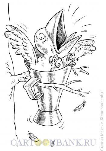 Карикатура: Ворона и рупор, Смагин Максим