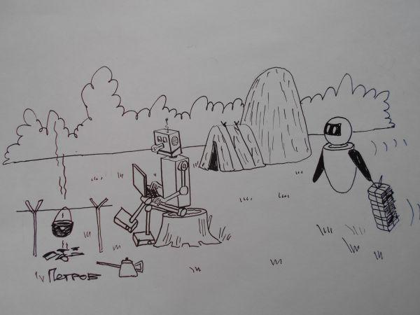 Карикатура: Робот, Собака Элла