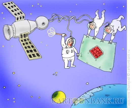 Карикатура: Утро на орбите, Тарасенко Валерий