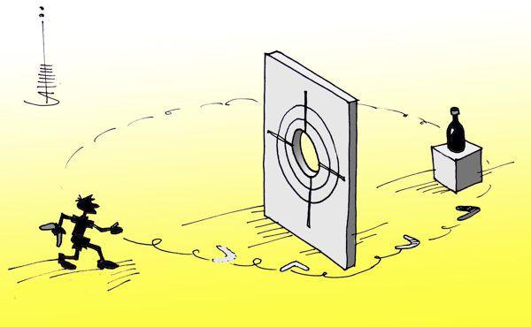 Карикатура: Бумерангометание, Юрий Санников