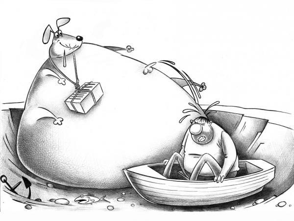 Карикатура: Муму, Сергей Корсун