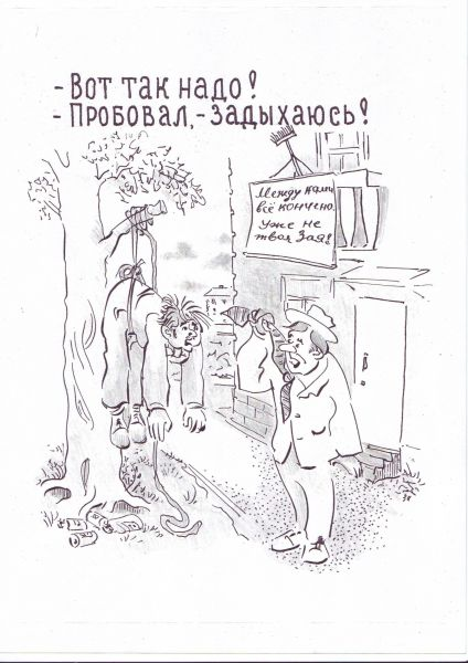 Карикатура: Неправильно висит..., Зеркаль Николай Фомич