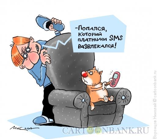 Карикатура: Платные СМС, Воронцов Николай