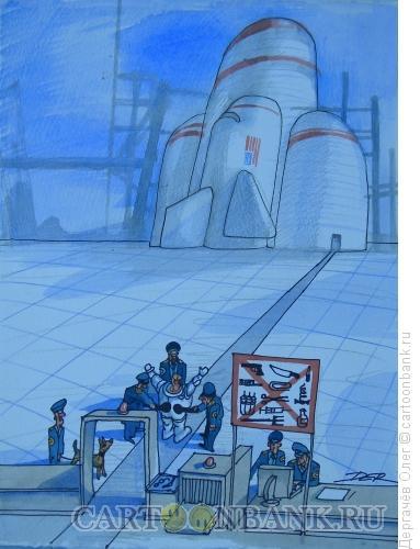 Карикатура: Космонавт, Дергачёв Олег