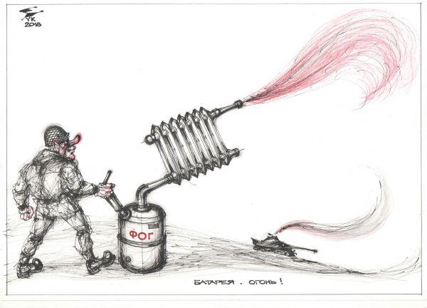 Карикатура: Батарея . Огонь !, Юрий Косарев