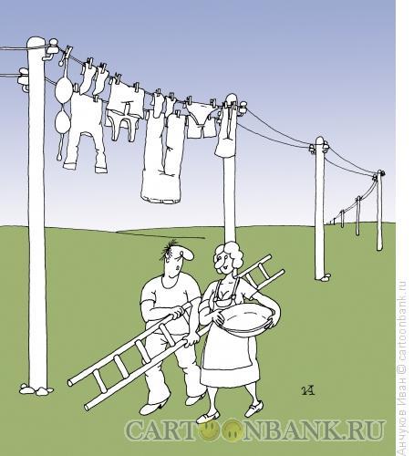 Карикатура: Большая стирка, Анчуков Иван