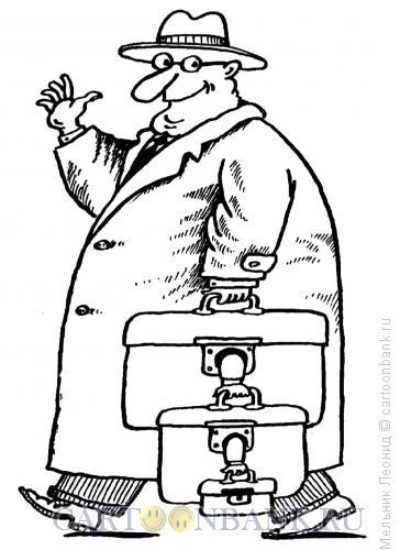 Карикатура: Чемоданы, Мельник Леонид
