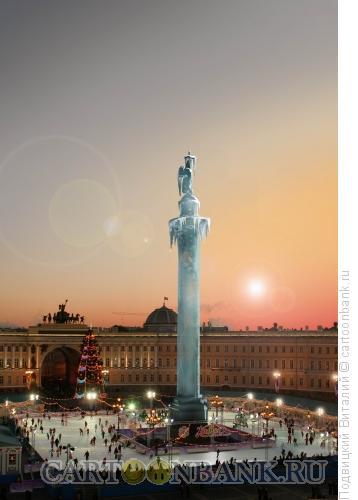 Карикатура: Каток на дворцовой, Подвицкий Виталий