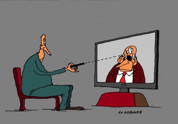 Карикатура: тв, михаил ларичев