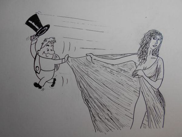 Карикатура: Женщина с покрывалом 3, Петров Александр