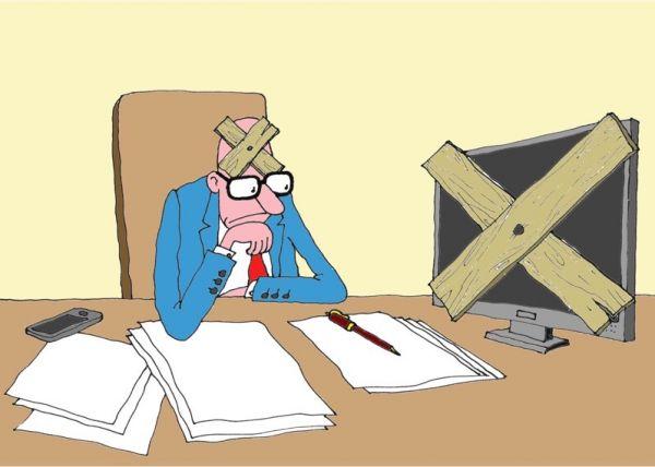 Карикатура: перерыв, михаил ларичев