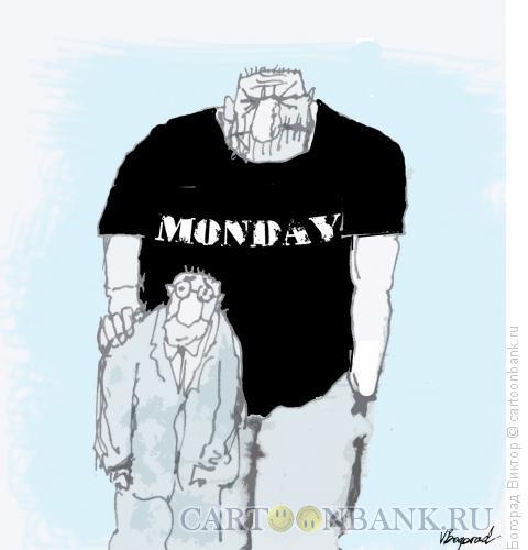 Карикатура: Тяжелый понедельник, Богорад Виктор