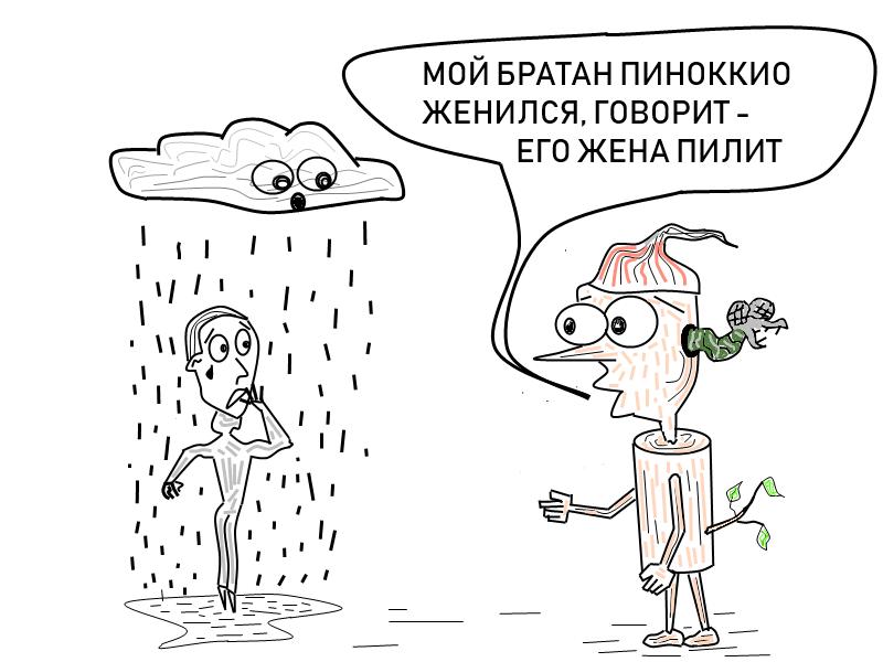 Карикатура: Жена пилит