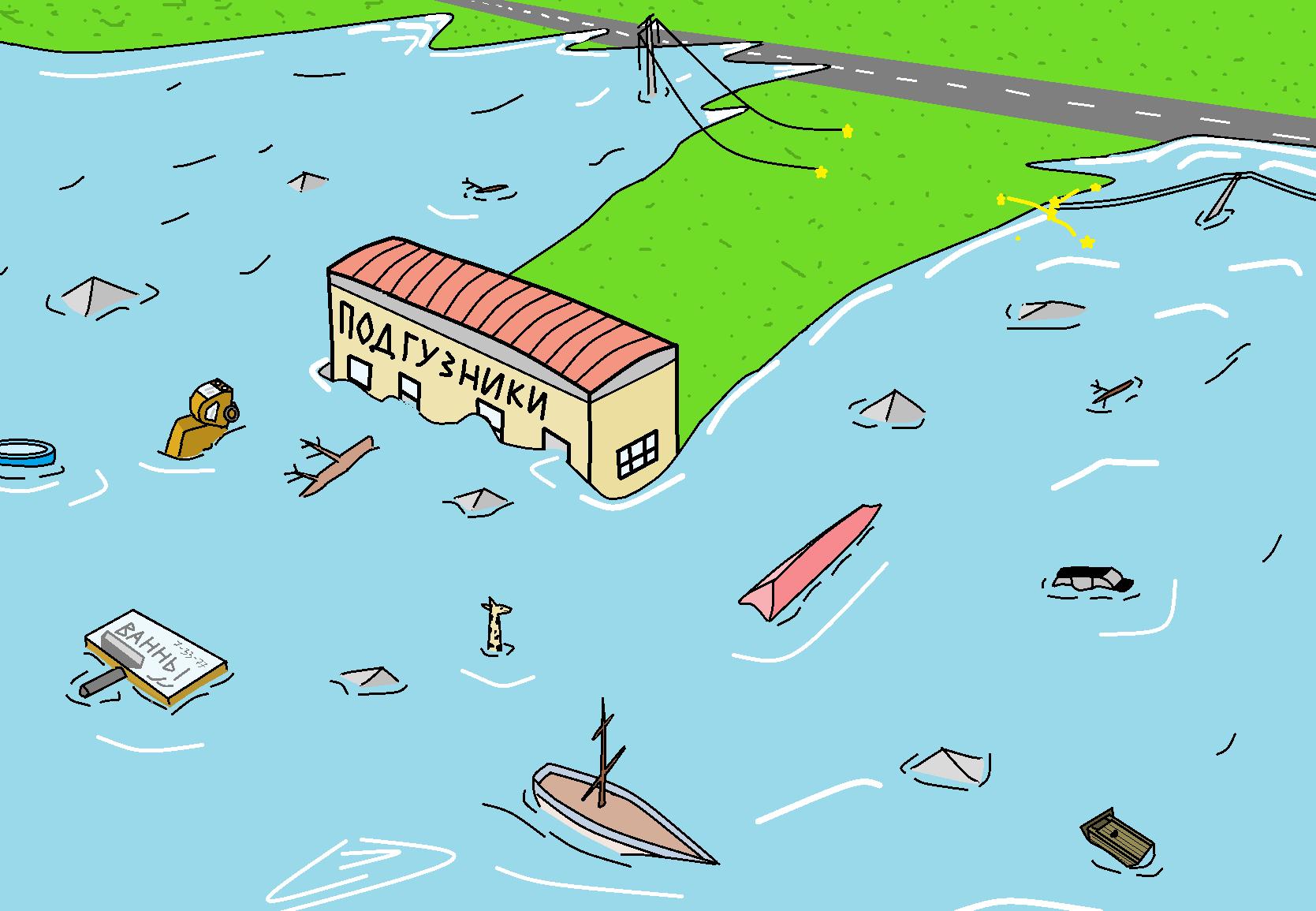 Карикатура: Преграда для цунами