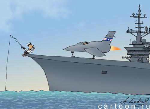 Карикатура: Рыбный день, Александр Зудин