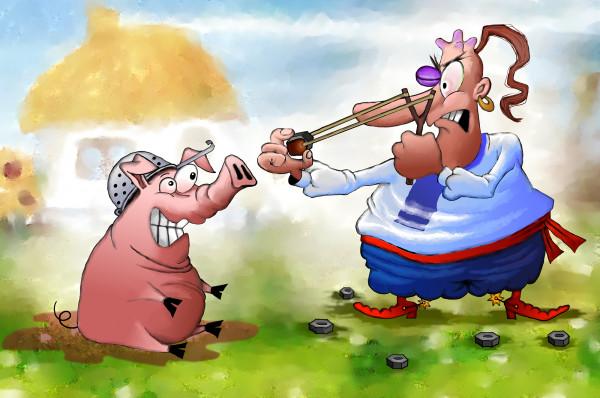 Карикатура: Рогатка, Иванов Игорь