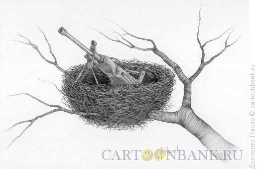 Карикатура: Пулемётное гнездо, Далпонте Паоло