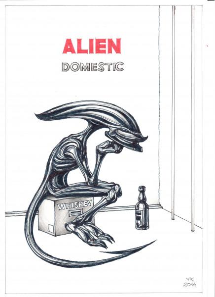 Карикатура: ALIEN . Домашний ., Юрий Косарев