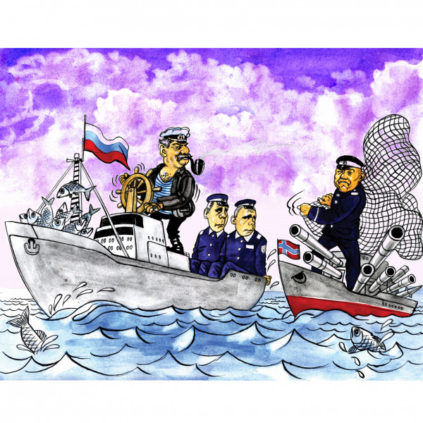 Карикатура: 2006 Российские рыбаки взяли в плен норвежских моряков, AZART