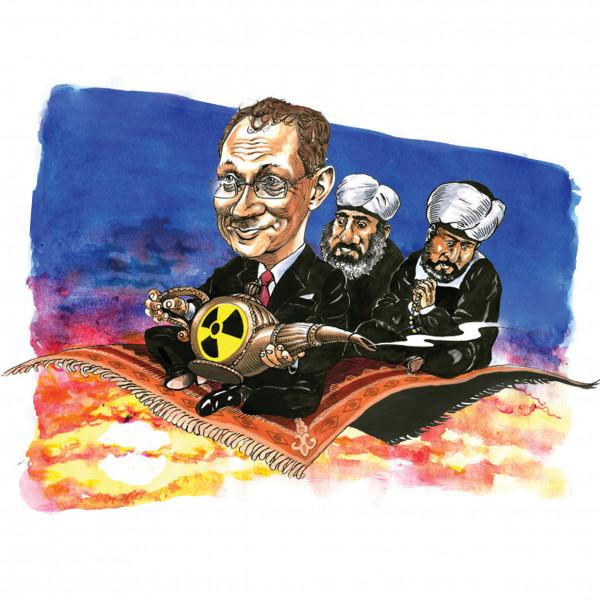 Карикатура: Кириенко летит обогощать уран в Арабские страны, AZART