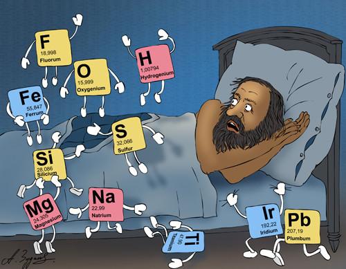 Карикатура: Кошмарный сон Менделеева, Александр Зудин