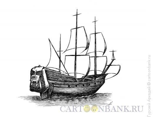 Карикатура: парусник, Гурский Аркадий