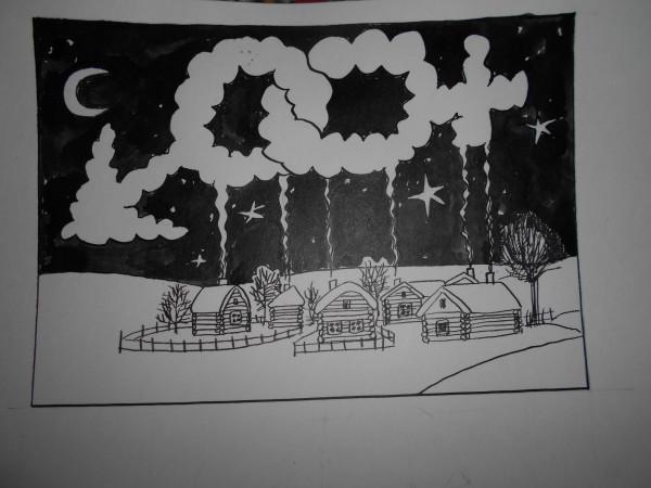 Карикатура: зимой в деревне, Петров Александр