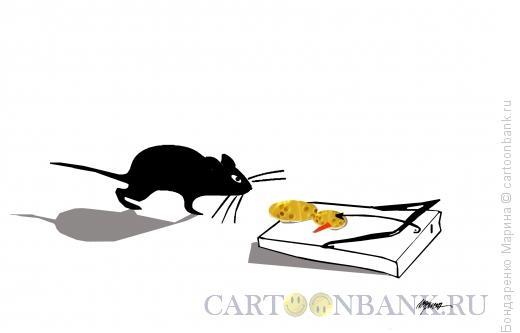 Карикатура: Мышка, Сыр, Снеговик и Мышеловка, Бондаренко Марина