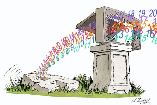 Карикатура: Конец аналоговому TV, Александр Зудин