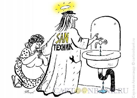 Карикатура: Поклонение сантехнику, Сергеев Александр