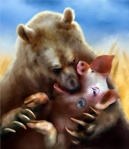 Карикатура: Расіська-украiнська товаришування у засос, Иванов Игорь