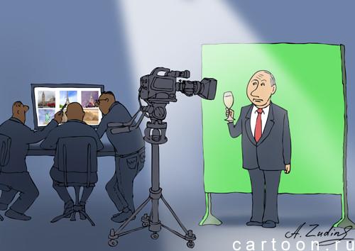 Карикатура: Запись новогоднего поздравления, Александр Зудин