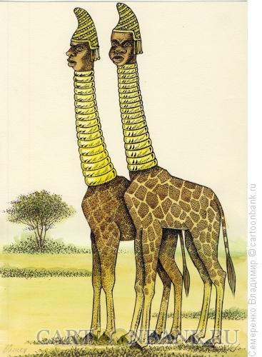 Карикатура: Женщины-жирафы, Семеренко Владимир