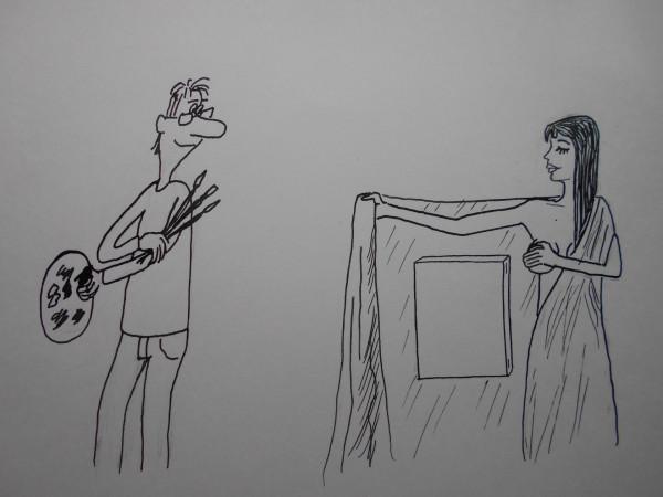 Карикатура: Женщина с покрывалом 12, Петров Александр