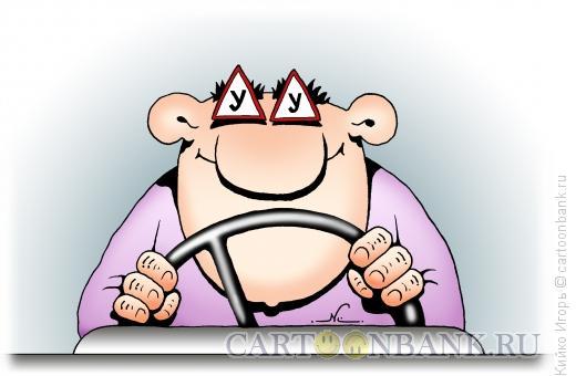 Карикатура: Начинающий водитель, Кийко Игорь