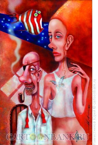 Карикатура: Лысый сверху и голая снизу, Наместников Юрий