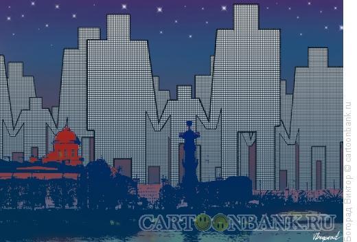Карикатура: Наступление небоскребов, Богорад Виктор