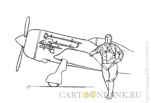 Карикатура: самолёт с инстументом, Гурский Аркадий