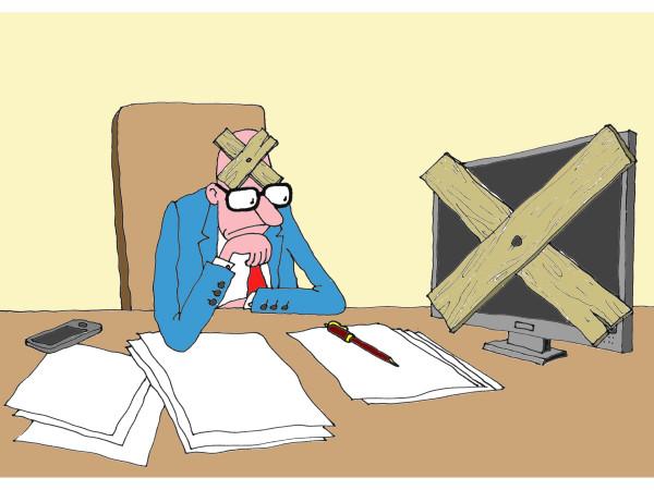 Карикатура: Не работает, Михаил Ларичев
