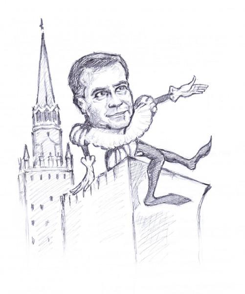 Карикатура: Шалтай-Болтай сидит на стене, Дмитрий Форвардер
