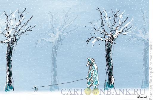Карикатура: Зимняя прогулка, Богорад Виктор