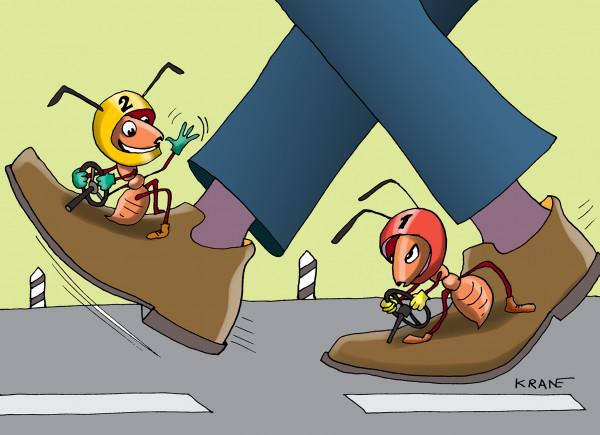 Карикатура: Гонки на ботинках, Bashenny