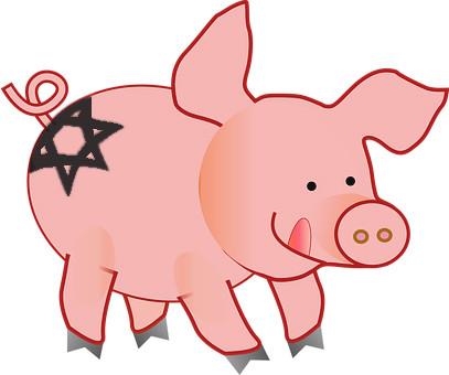 Карикатура: Свинья - иудейка, Альпинский
