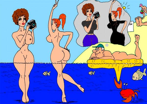 Мем: На нудистком пляже мужики мысленно одевают баб...