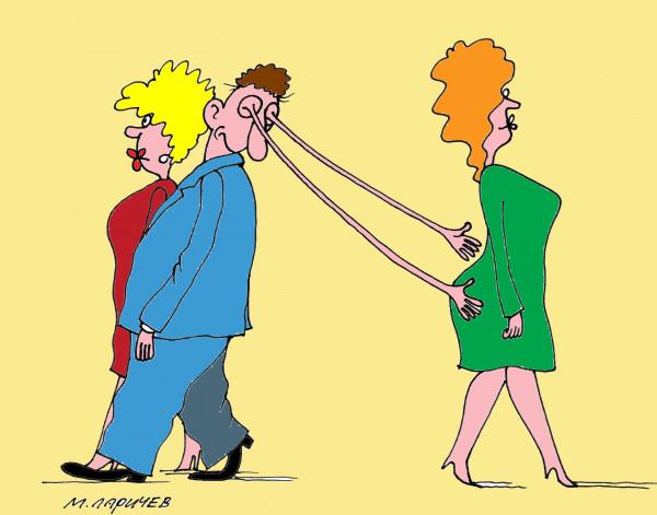 Карикатура: Руки убери!, Михаил Ларичев