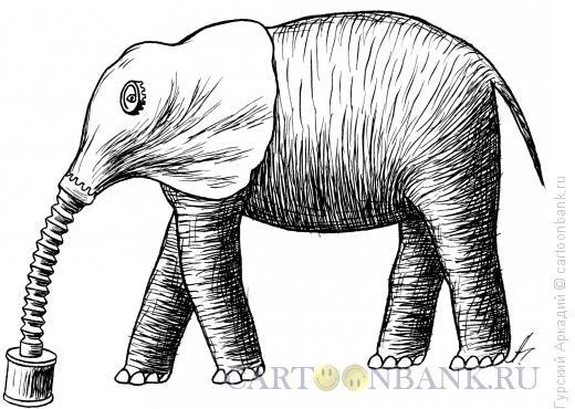 Карикатура: слон с противогазом, Гурский Аркадий