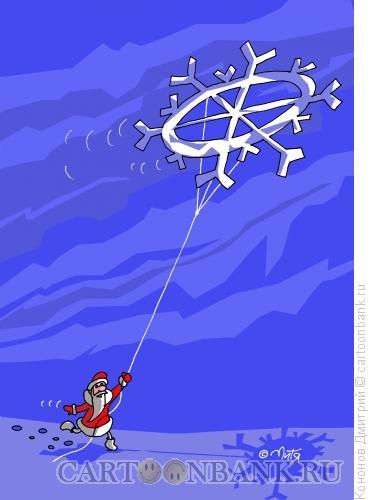 Карикатура: дед мороз и снежинка, Кононов Дмитрий