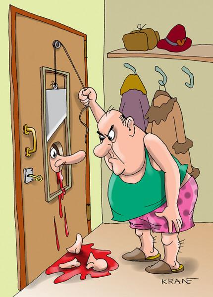Карикатура: Любопытной Варваре нос отрубили, Bashenny