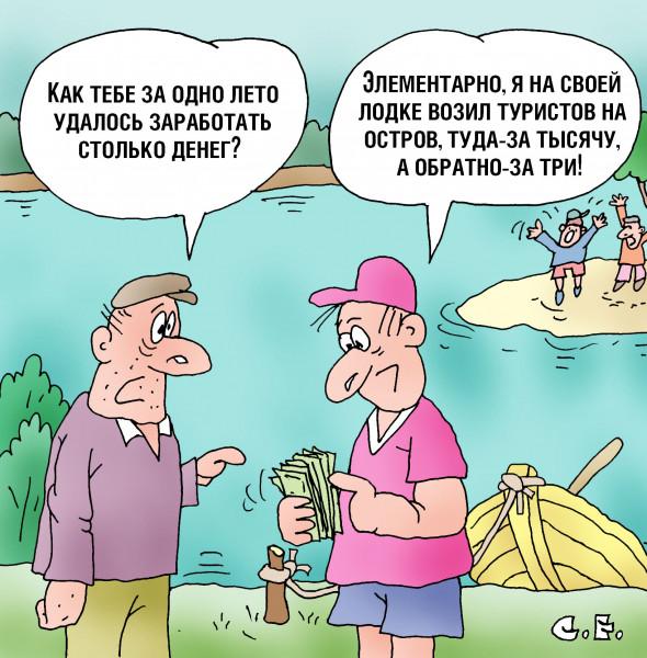 Карикатура: Туда тысяча обратно три, Сергей Ермилов