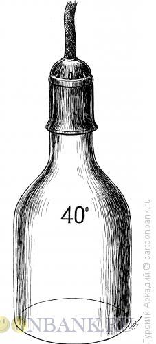 Карикатура: бутылка-лампочка, Гурский Аркадий